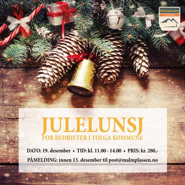 Julelunsj 19. desember for bedrifter i Tolga kommune